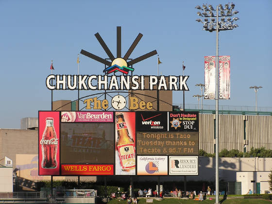 The video board in Left - Chuckchansi Park, Fresno
